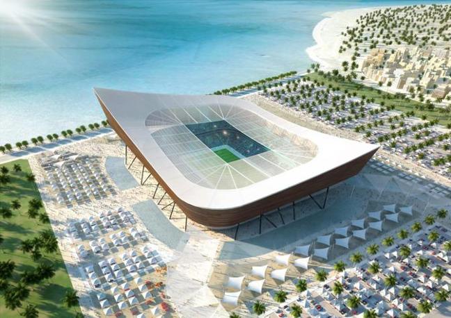 Il nuovo Al-Shamal Stadium a due piani: 25.500 posti in quello inferiore, 19.620 in quello superiore (Epa)