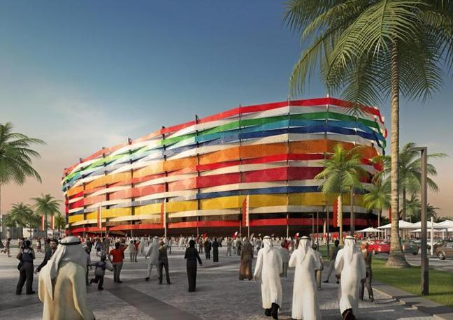 Il nuovo Al-Gharafa Stadium di Doha: ospiterà 44.740 spettatori (Epa)