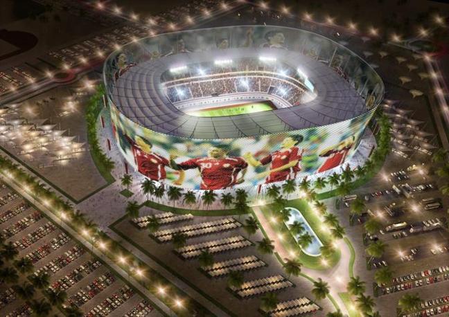 Il restilyng dell'Al-Rayyan Stadium: da 21.282 a 44.740 grazie ad un nuovo livello rialzato (Epa)