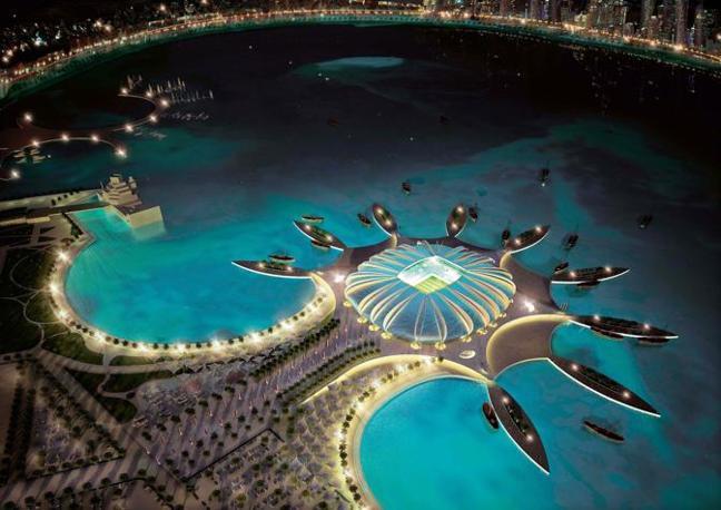 Il nuovo Doha Port Stadium. Sarà situato su una penisola artificiale nel golfo e accoglierà 44,950 spettatori (Epa)