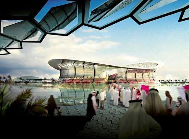 Il Lusail Iconic Stadium di Lusail City. Con una capacità di 86,250. Qui si giocheranno i match di apertura e chiusura del Mondiale (Epa)