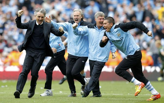 L'esultanza finale di Roberto Mancini (Reuters/Noble)