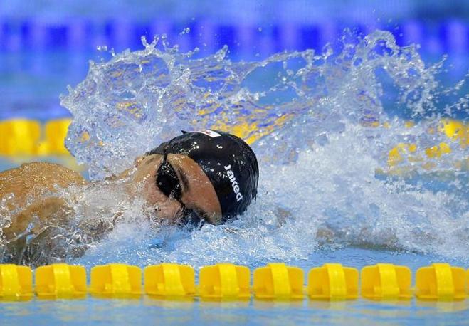 Gregorio Paltrinieri in azione: ha vinto i 1.500 stile libero agli europei di nuoto. E grazie a questo oro andrà anche all'Olimpiade di Londra (Ansa)