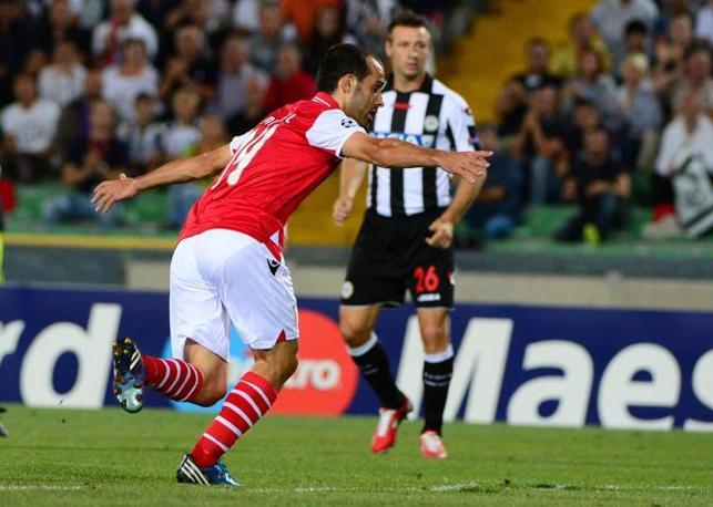 Micael (Braga) esulta dopo il gol del pareggio (Afp/Morin)