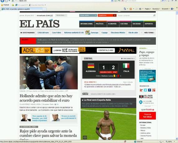 El Pais sottolinea che la finale sar Spaga ed Italia
