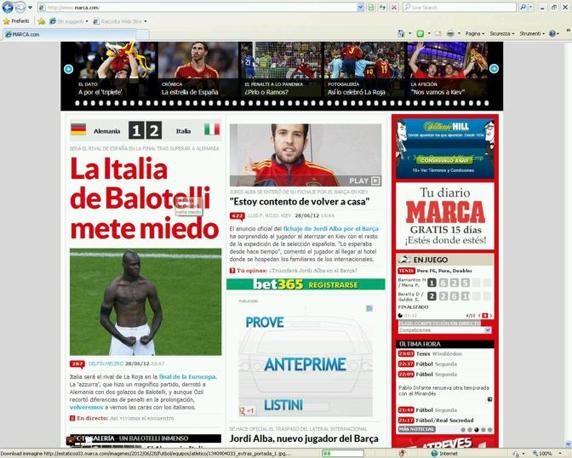 L&#39;Italia di Balotelli mette paura per lo spagnolo Marca