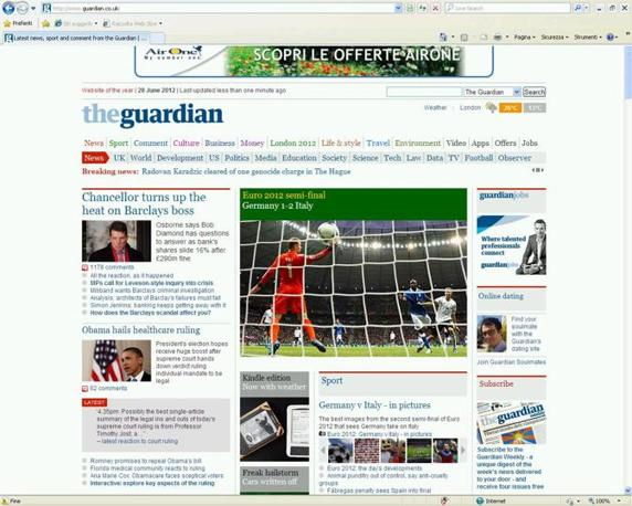 Grande spazio anche sul The Guardian