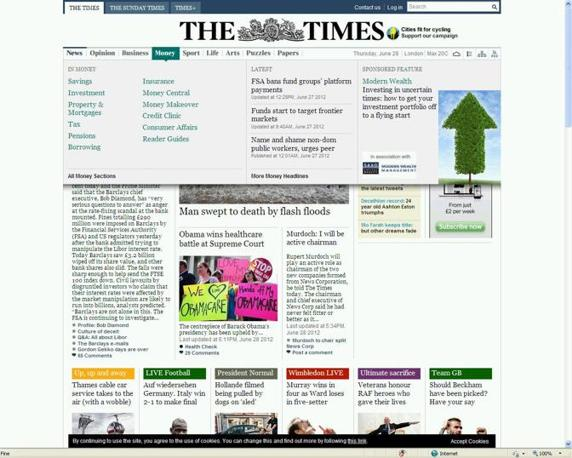 Spazio anche su The Times