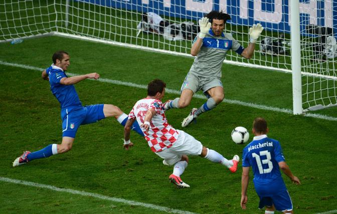 Il gol di Mandzukic, su un cross dalla sinistra (Afp/Dilkoff)