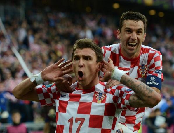 Mario Mandzukic festeggiato dal capitano Dario Srna (Afp/Leong)
