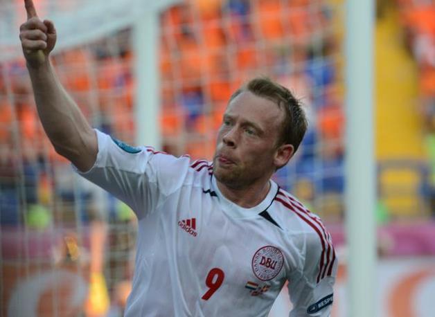 Olanda-Danimarca, l'esultanza di Krohn-Dehli per il gol dello 0-1 (Afp/Hertzog)