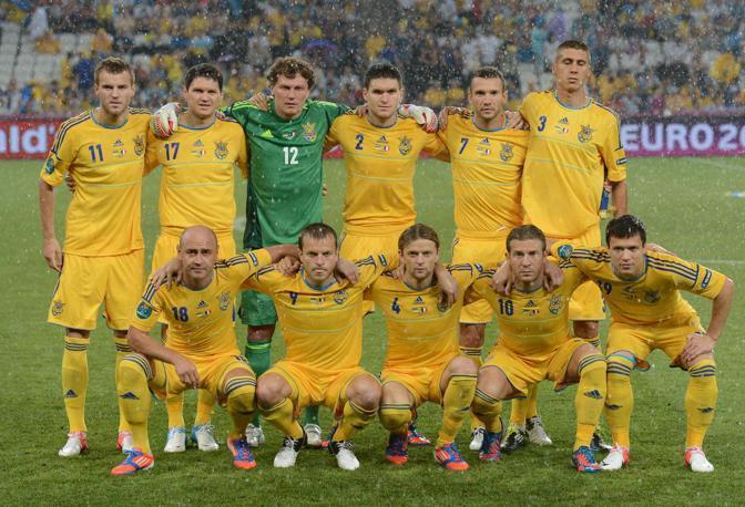 La formazione dell'Ucraina prima della partita (Afp/Hertzog)