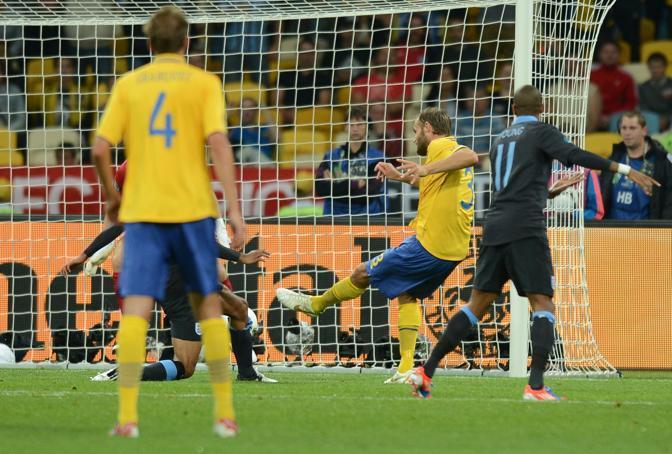 Il gol dell'1 a 1. Melberg segna, palla deviata da Johnson che fa autogol (afp)