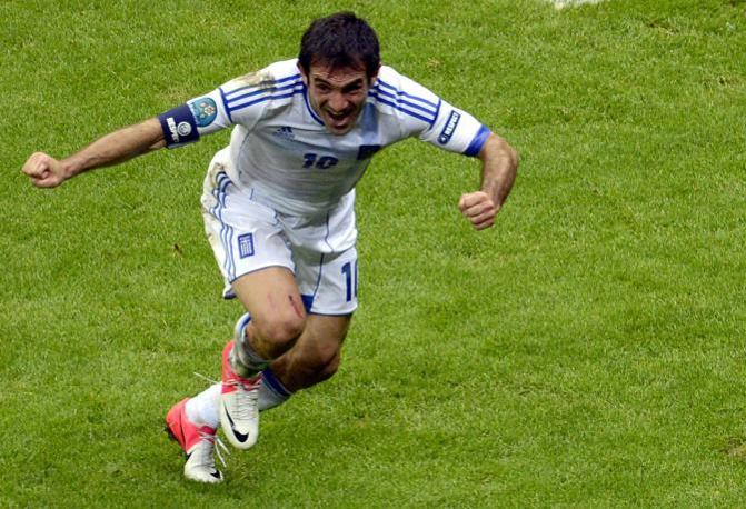 GRECIA-RUSSIA 1-0 - L&#39;esultanza di Karagounis (Epa/Pietruszka)