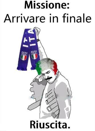 Il meme - cioè il tormentone - Freddie Mercury Rage Pose (La posa di rabbia di Freddie Mercury) viene usato, in tutte le sue varianti, per indicare un risultato straordinario. La finale centrata dall'Italia (in programma domenica), non sfugge alla regola (da Facebook)