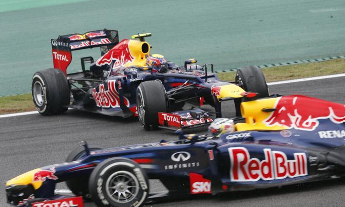 La Red Bull di Vettel e l'altra di Webber (Ap)