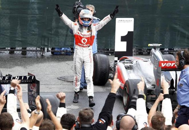 Esultanza di Jenson Button (Reuters)