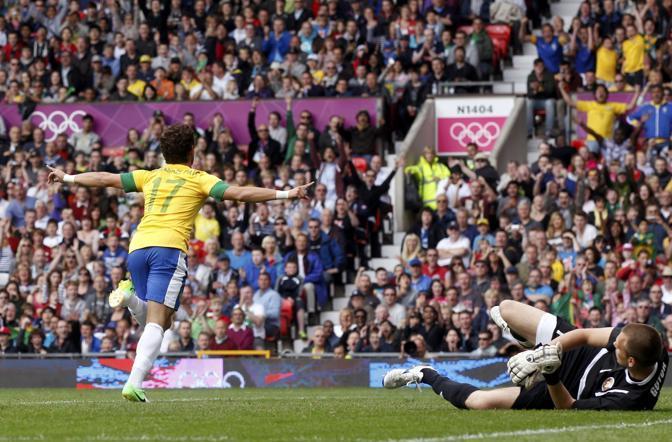 Pato porta in vantaggio il Brasile contro Bielorussia nel gruppo C di calcio di Londra 2012 (Reuters)