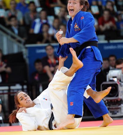 Non si è ripetuto il trionfo di Pechino: Giulia Quintavalle perde con l'americana Marti Malloy nella semifinale del judo 57 kg. Non andrà a medaglia (Ansa)