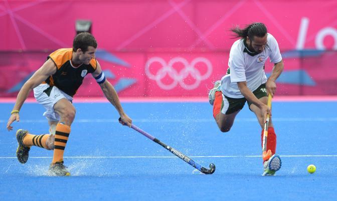 I pakistani sfidano il Sudafrica nelle eliminatorie dell'hockey su prato (Afp)