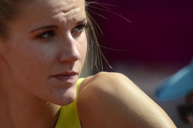 Lo sguardo di ghiaccio della saltatrice lituana Airine Palsyte nelle qualificazioni di Londra 2012 (Afp)