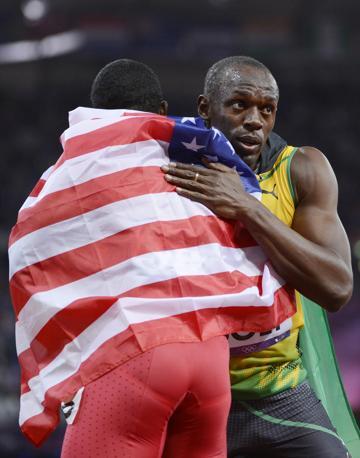 Con Gatlin, vincitore del bronzo e unico americano sul podio (Reuters)