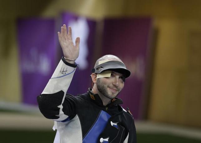 Con 1278.5 il tiratore azzurro ha stabilito anche il nuoto record olimpico per la finale (Ap/Blackwell)