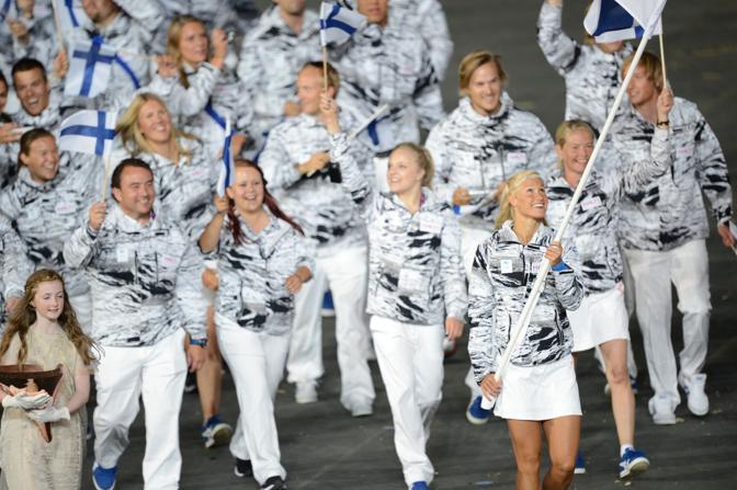 I finlandesi, molto solari, capitanati da Hanna-Maria Seppala (Afp/Simon)