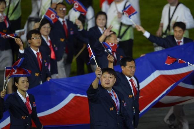 La delegazione della Nord Corea (Afp)