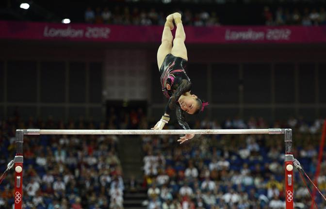 L'atleta cinese in azione (Epa/Gombert)
