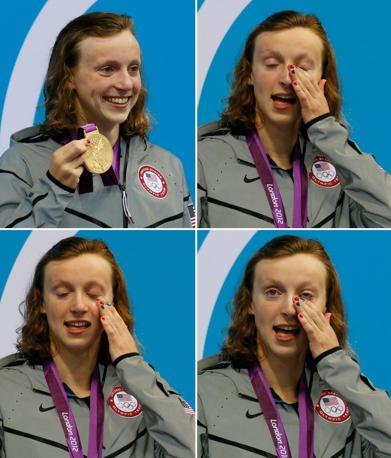La nuotatrice americana Katie Ledecky, oro negli 800 metri stile libero (Epa)