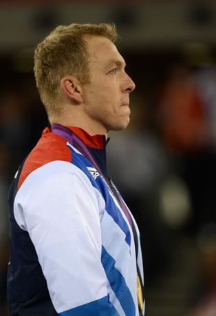 Il ciclista Chris Hoy, oro nello sprint a squadre (Afp)