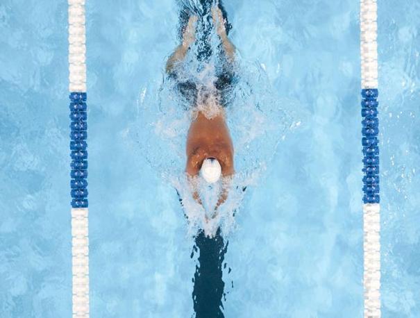 Lochte in acqua si allena per le gare di Londra 2012  (LaPresse/Arorizo)