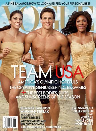 La copertina di Vogue America con la Solo (portiera della nazionale di calcio), Lochte e Serena Williams