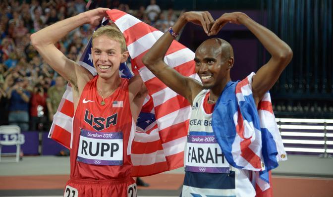 Lo statunitense Galen Rupp, medaglia d'argento, si è lasciato coinvolgere, anche se non è chiaro se in qualità di M o di O  (Lee)