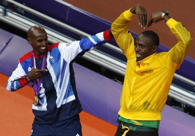 Ma non è finita: al momento delle cerimonie di premiazione, ecco Farah e Bolt insieme (Reuters/Bensch)
