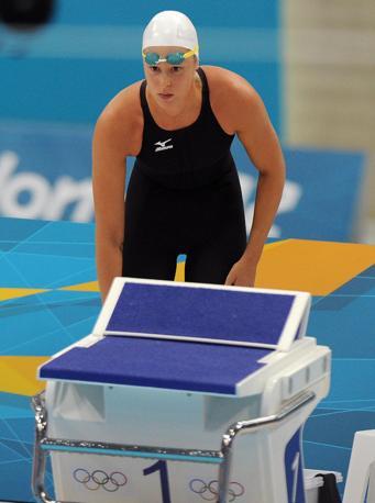 Federica Pellegrini, campione olimpica in carica si prepara per la finale dei 400 stile libero (Ansa)