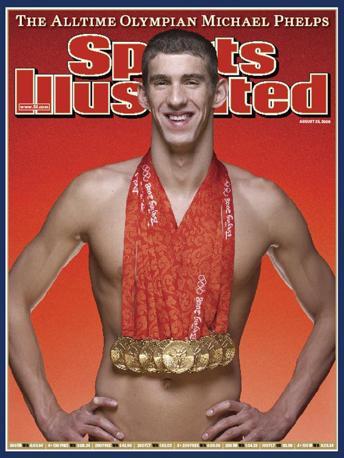 L'americano sulla copertina di una rivista con la collana di ori.