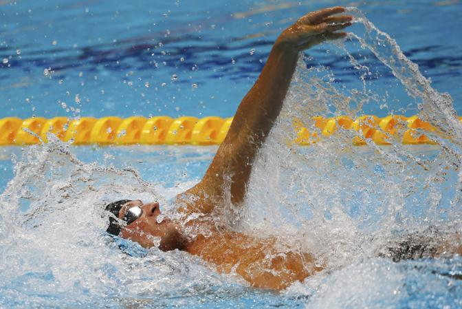 La presenza di Michelle Obama ha portato bene a Ryan Lochte, che si è imposto nei 400 misti e nel primo duello col connazionale Michael Phelps, addirittura quarto (Reuters/Silva)