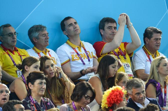 Felipe alla partita di pallanuoto (Lapresse)