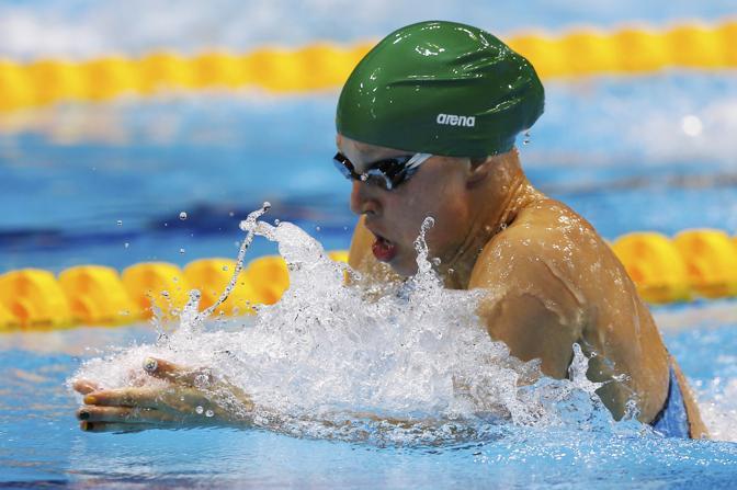 La lituana Ruta Meilutyte nei 100 metri rana donne (Reuters)