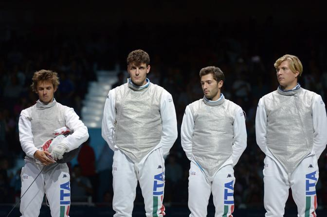La squadra al completo: da sinistra Andrea Baldini, Andrea Cassarà, Giorgio Avola, Valerio Aspromonte, impiegato solo nei quarti (LaPresse)