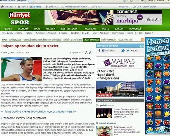 """Il principale quotidiano turco, Hurryiet: """"Brutte parole di un'atleta italiano"""""""