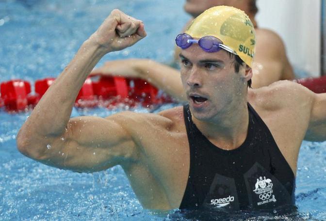 Sullivan festeggia a Pechino il suo record mondiale nella semifinale  dei 100m stile libero quando fermò il cronometro sul 47'05'' (Reuters/ Lampen)