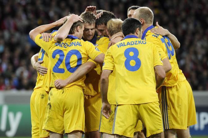 Grande esordio per il Bate Borisov, che dilaga a Lilla: Lilla-Bate Borisov 1-3 (Epa/Valat)
