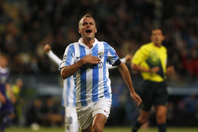Malaga-Anderlecht 2-2. Nell'altra sfida del gruppo C Duda ha firmato una doppietta per i padroni di casa. I belgi, ormai già eliminati, hanno segnato con Jovanovic e Mbokani (Reuters/Nazca)