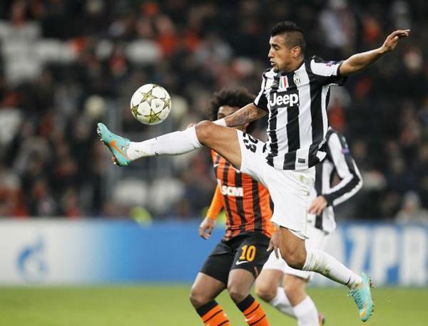 Shakhtar Donetsk-Juventus 0-1: Vidal stoppa al volo (Dolzhenko\Epa)