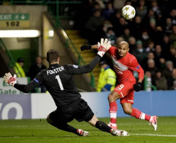 Celtic-Spartak Mosca 2-1: il gol di Ari per i russi (Stewart\Epa)