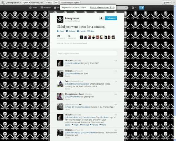 Su Twitter l'hashtag #gmaildown ha suscitato numerosi post, tra cui quello degli hacktvist Anonymous