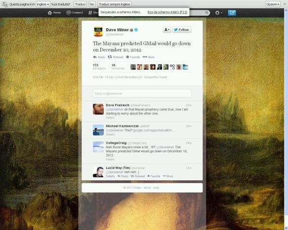 �I Maya avevano predetto che Gmail sarebbe andato gi� il 10 dicembre 2012�